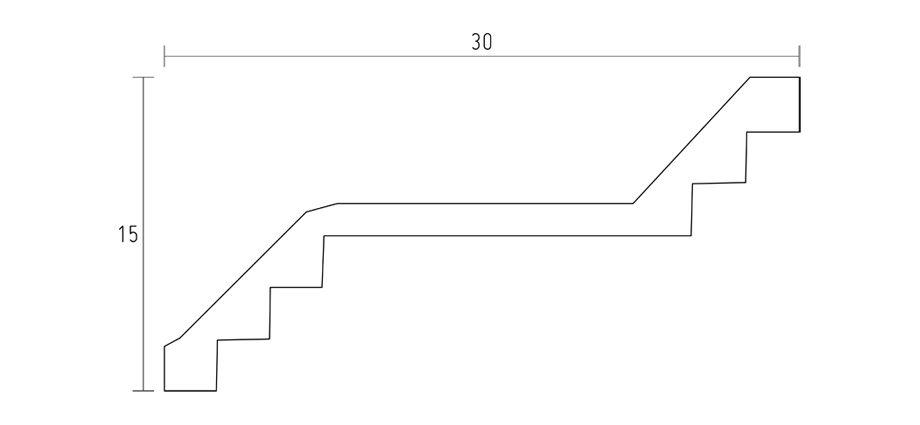 schéma corniche contemporaine D568-corniche plafond-corniche plâtre