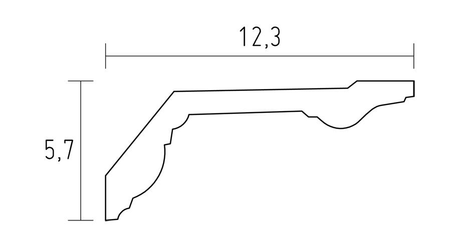 Schema de la D604 corniche classique a coller sur le plafond en platre