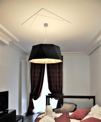 m501 rosace de plafond moderne carree fixation par collage