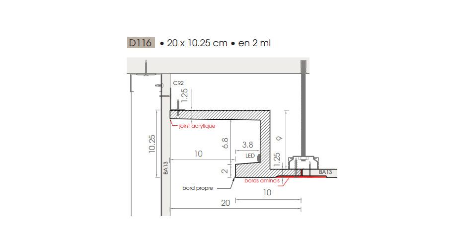 Schema corniche eclairage indirect D116 en staff finition pour votre plafond