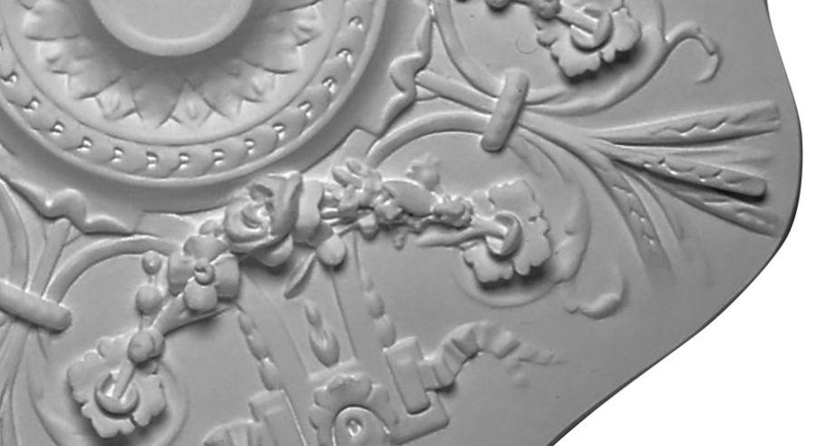 detail m255 grande rosace en platre collection staffdecor se colle ou s'encastre au plafond
