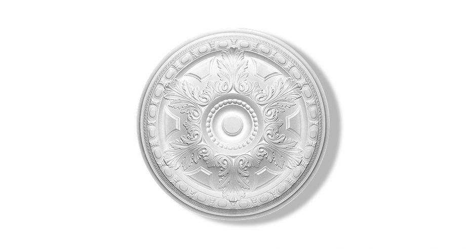 rosace en staff circulaire à feuillage