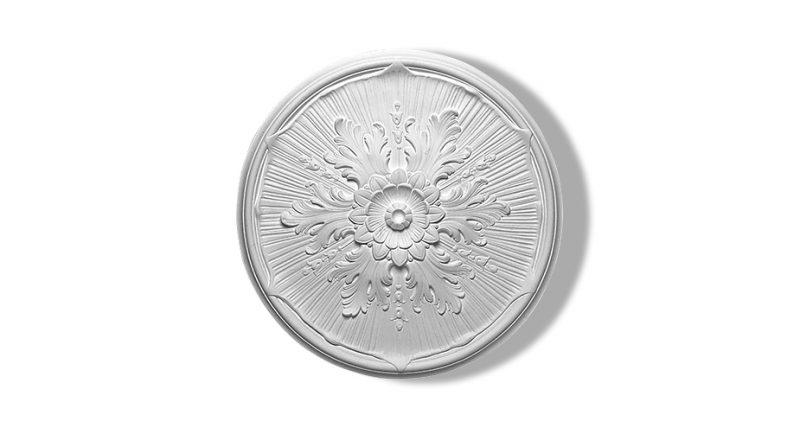 rosace ornementée circulaire en staff