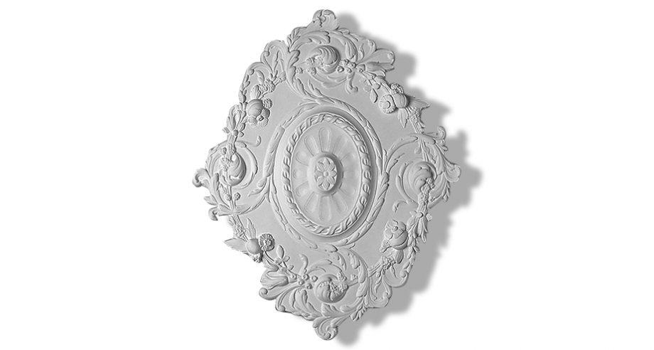 rosace ornementee en staff ovale pour fixer au plafond