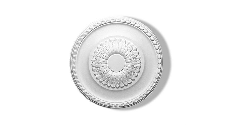 Rosace en staff, motif feuillage, diamètre 39 cm, Staff décor