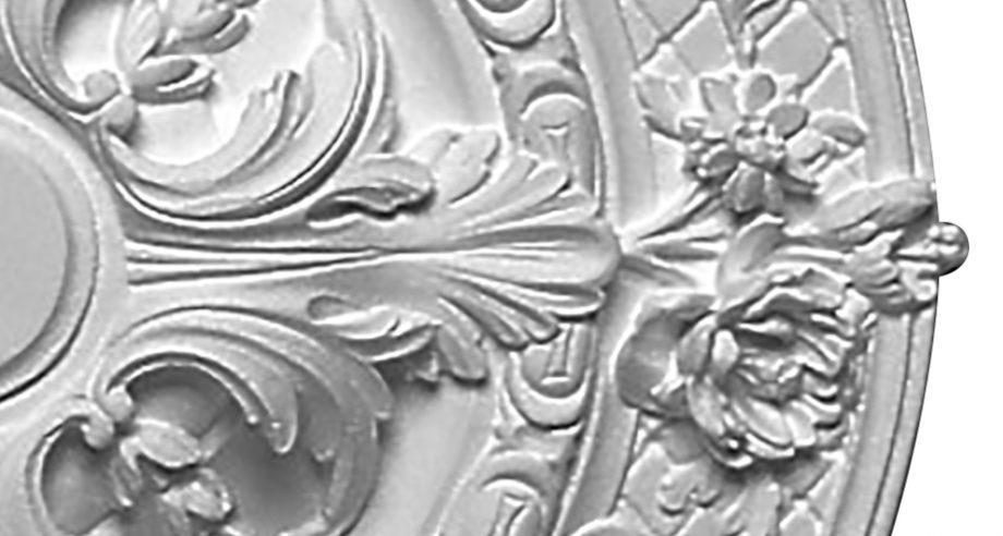 detail m204 rosace plafond en platre de chez Staff Decor se fixe par collage