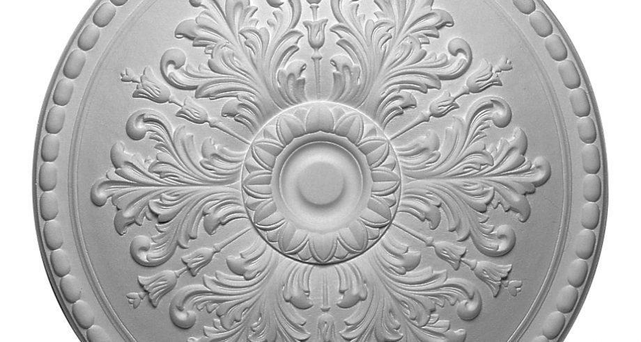 detail m303 rosace ornementee en platre a coller au plafond