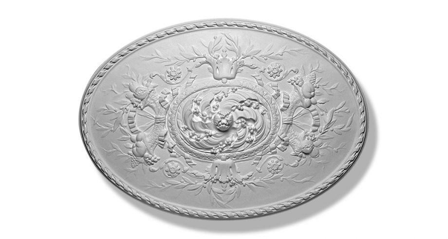 m400 rosace ovale en platre collection Staff Decor se fixe par collage au plafond