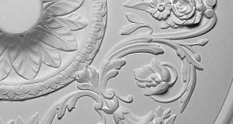 detail m402 rosace ornementee en platre fabrication Staff Decor a coller sur le plafond
