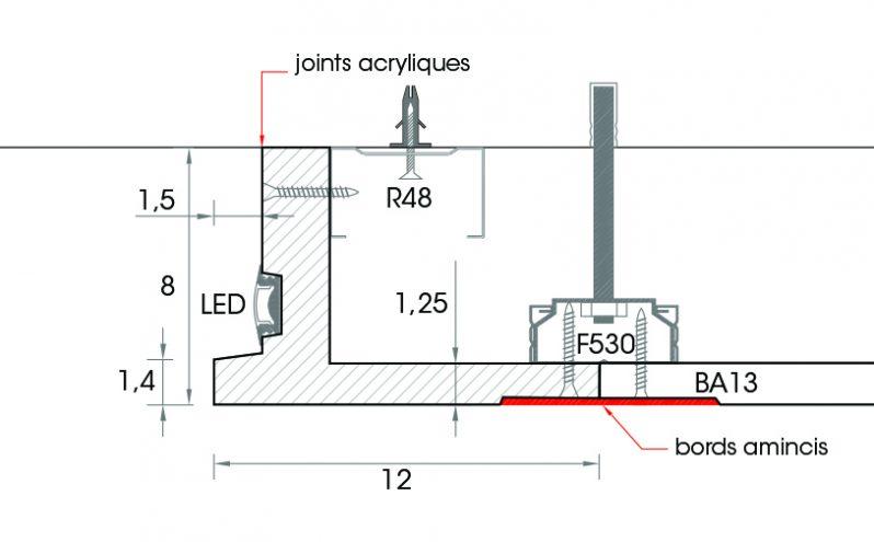 Schema corniche a eclairage indirect D108 a fixer au plafond