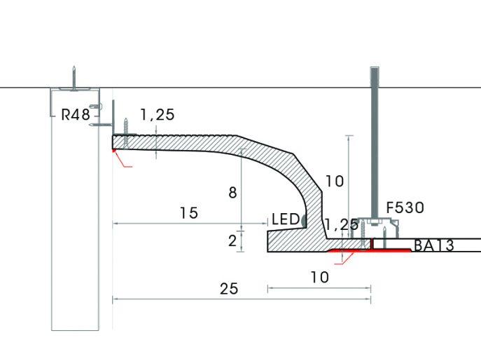 corniche a eclairage indirect en staff-d117- corniche plafond-corniche en staff