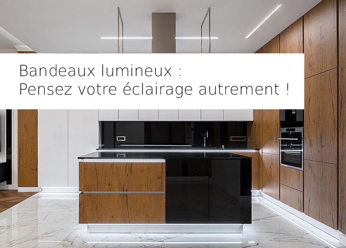 elegante cuisine avec eclairage lumineux bandeaux led